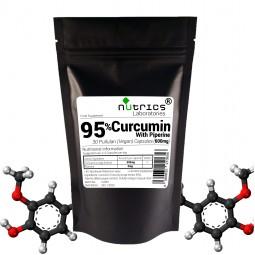95% TURMERIC CURCUMIN & PIPERINE 600mg Pure Extract 30 Vegan Capsules