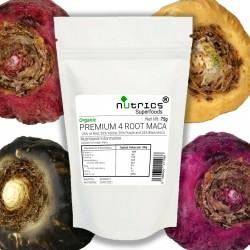 4 Root Premium Maca Black Red Purple Yellow Maca Vegan Powder (Organic)
