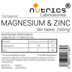Magnesium & Zinc  500mg Tablets