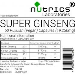 Super Ginseng  Ashwagandha Siberian Panax Maca 19,250mg V Capsules