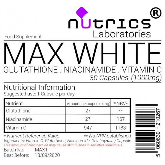 Max White Glutathione Niacinamide Vitamin C 1000mg Capsules