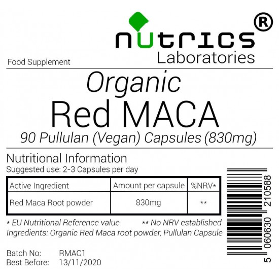 Organic Red Maca Root 830mg Capsules