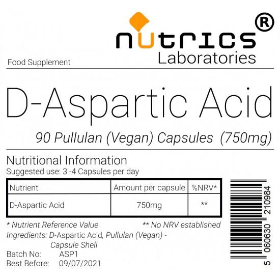 DAA D-Aspartic Acid 750mg Capsules